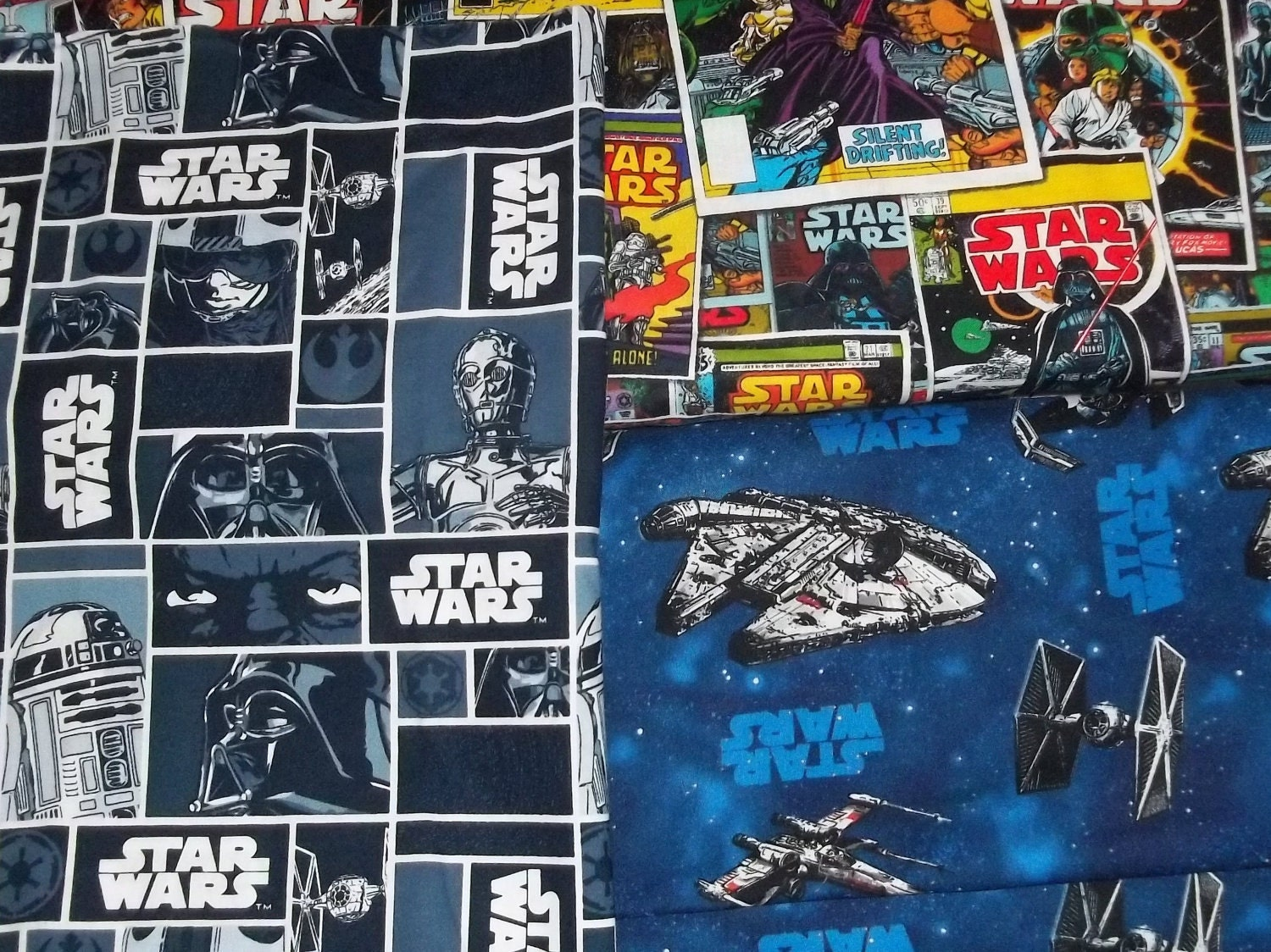 Star wars fabric by the fat quarter set of 3 for Star wars fabric