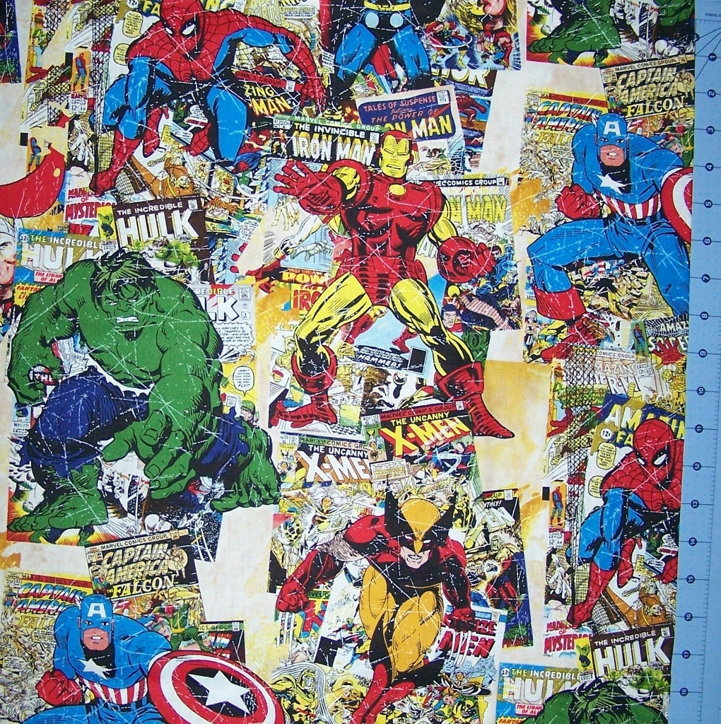 Marvel Comic Large Print Fabric Fabric By The Yard