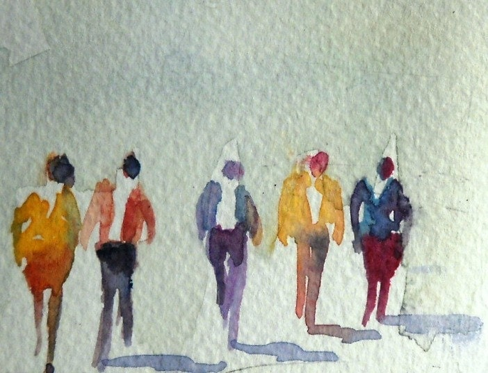 Watercolor painting aceo original walking figures people for Watercolor painting classes near me