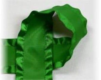 7/8 inch x 3 yds Double Ruffle ribbon - Emerald