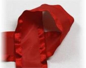 7/8 inch x 3 yds Double Ruffle ribbon - Red