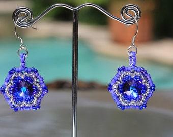 Handmade Bright Blue Swarovski Rivoli Earrings