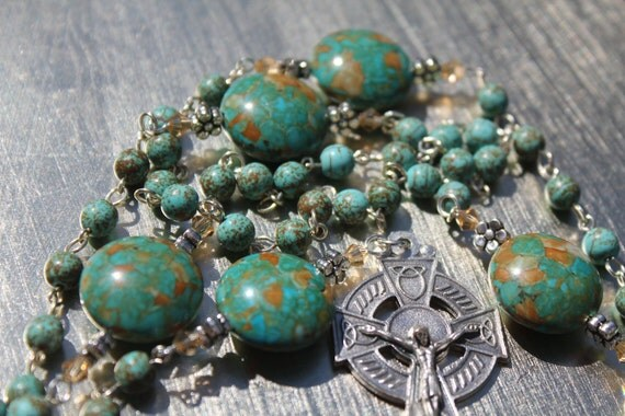 Aqua Magnesite Catholic Rosary with Celtic Crucifix - FREE SHIPPING Use Coupon Code FREESHIP