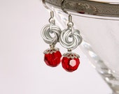 White and Red Flower Earrings