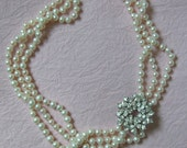 Hand-knotted Akoya Saltwater Pearl and Vintage Signed Weiss Pin Necklace