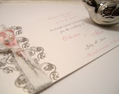 Custom Save The Dates with Akoya Pearl and Swarovski Crystal Boutonnieres - Olivia