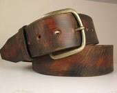 """1.75"""" wide Simple Vintage Distressed Brown Leather Belt"""