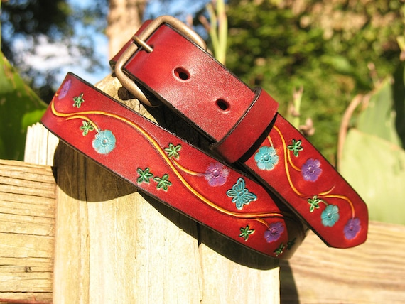 Flower Power Hand Tooled Hand Painted Vintage Style Belt