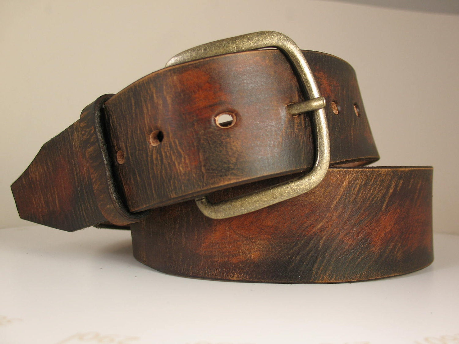 1 75 wide simple vintage distressed brown leather belt