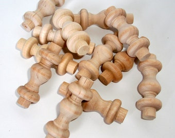 Tiny Hardwood Spindles Unfinished for Crafts - Set of 12