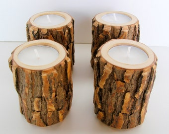 Rustic Wood Candle Holders, Wooden Candle Holders, Wedding Centerpiece, Tree Branch Candle Holders, Tree Slice, Set of 4