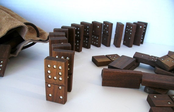handmade dominoes handmade dominoes of black walnut wood 9 in leather bag 6205
