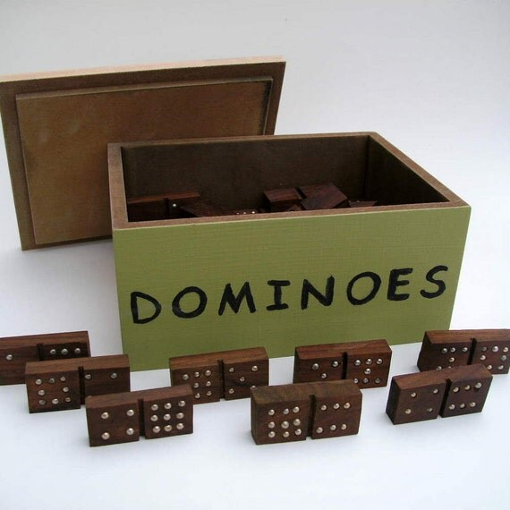 Handmade Dominos of  Exotic Red Heart Wood -- Double 9 in Wooden Box