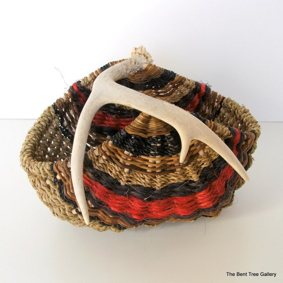 Antler Basket in Black and Red Handmade from Natural Materials