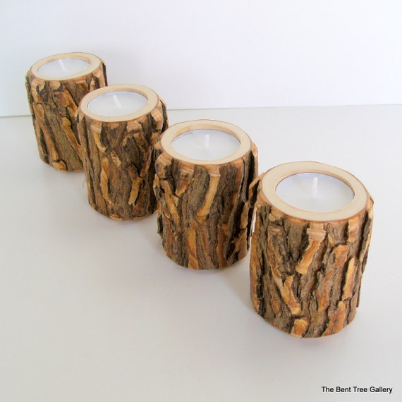 Rustic Wood Candle Holders, Wooden Candle Holders, Wedding Centerpiece, 9th Anniversary, Set of 4