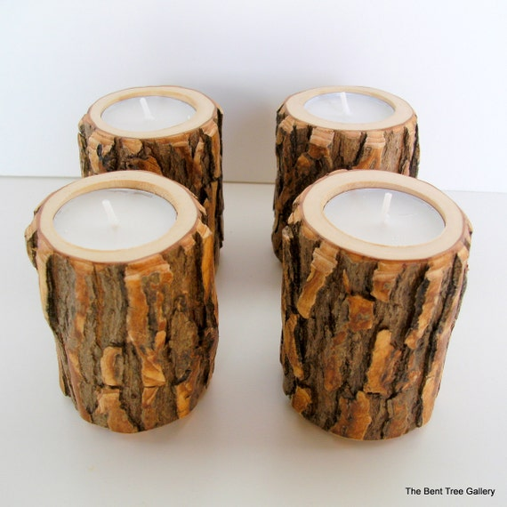 Rustic wood candle holders wooden candle by thebenttreegallery for Rustic wood candle holders