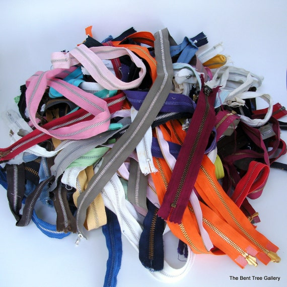 Metal Zippers New and Used Lot of 125 Assorted Sizes and Colors