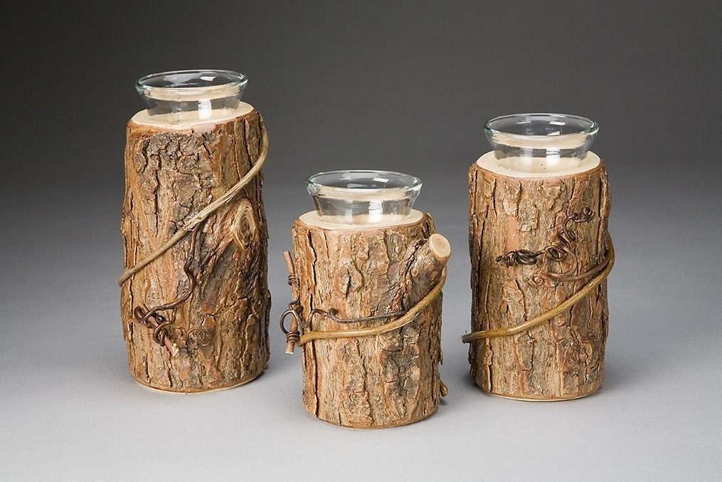 Rustic candle holder trio by thebenttreegallery on etsy for Log candles diy