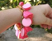 Pretty in pink vintage fun chunky charm bracelet