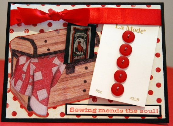 Handmade card with gift Sewing Mends the Soul