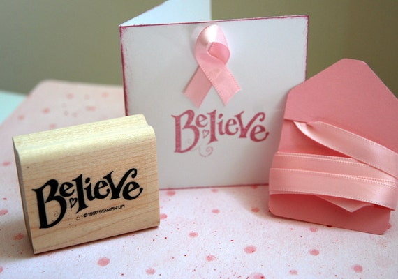 Believe Stampin Up Rubber Stamp Mini Card and Ribbon