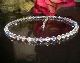 "10.5"" Genuine Swarovski AB Aurora Borealis Ankle Anklet Bracelet"