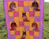 Baby or Toddler Quilt Horses in bandannas with bright pink and purple bandanna print