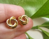 May Sale - Petite Swirl Stud Post Earrings - 14K Gold Plated - Reduced from 28 to 22