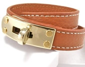 Sienna Brown Leather Double Wrap Bracelet with Gold Turnlock