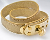 Leather Wrap Bracelet in Soft Tan Beige with Luminous Gold Turnlock