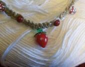 Strawberry Pendant Hemp Necklace