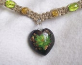 Green Flower Heart Pendant Hemp Necklace