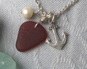 Red Sea Glass with Pearl and Anchor Charm - Genuine and Eco Friendly - Vintage Style