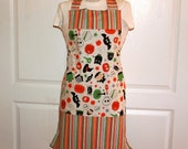 Halloween Apron Reversable Monsters and Stripes