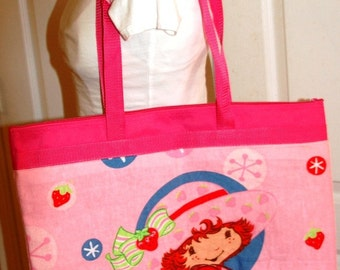 Tote Bag Made with Upcycled Strawberry Shortcake Bed Sheet (not a licensed product)