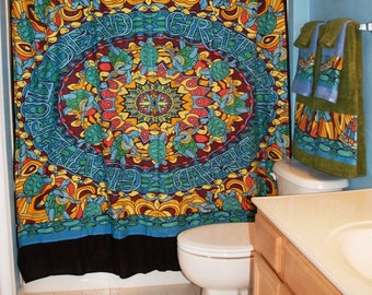 Shower Curtain Made With Repurposed Grateful Dead Tapestry (not a licensed product)