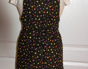 Halloween Apron Reversable Spooky Eyes and Dots