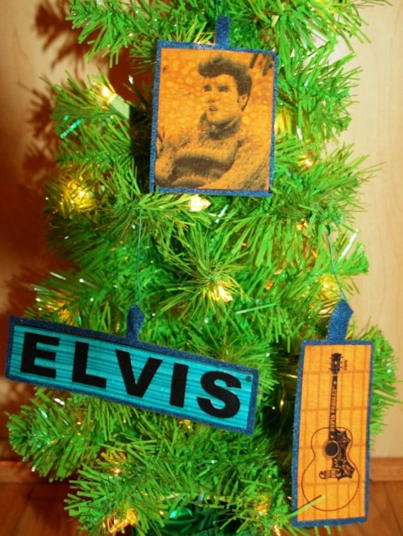 Set of 3 Christmas Ornaments Made with Upcycled Elvis Fabric