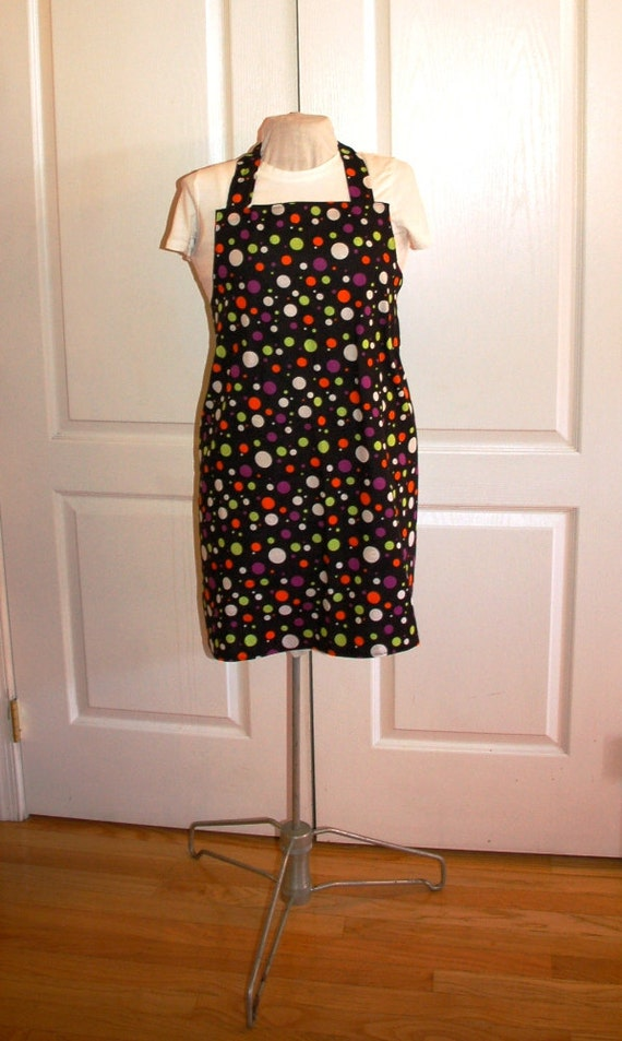 Halloween Apron Reversable Boo and Dots