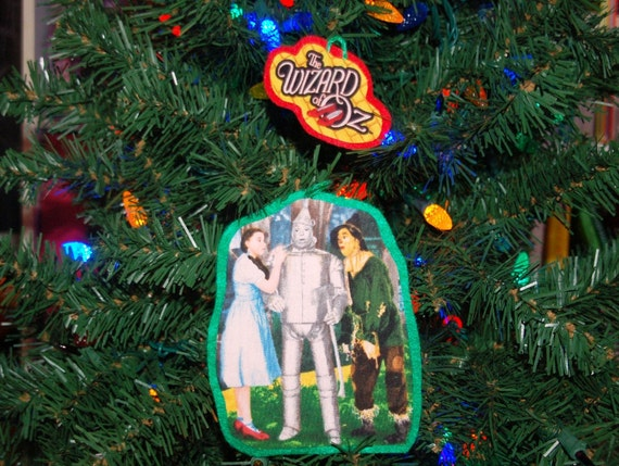 Upcycled Christmas Ornament Set Made With the Wizard of Oz Fabric