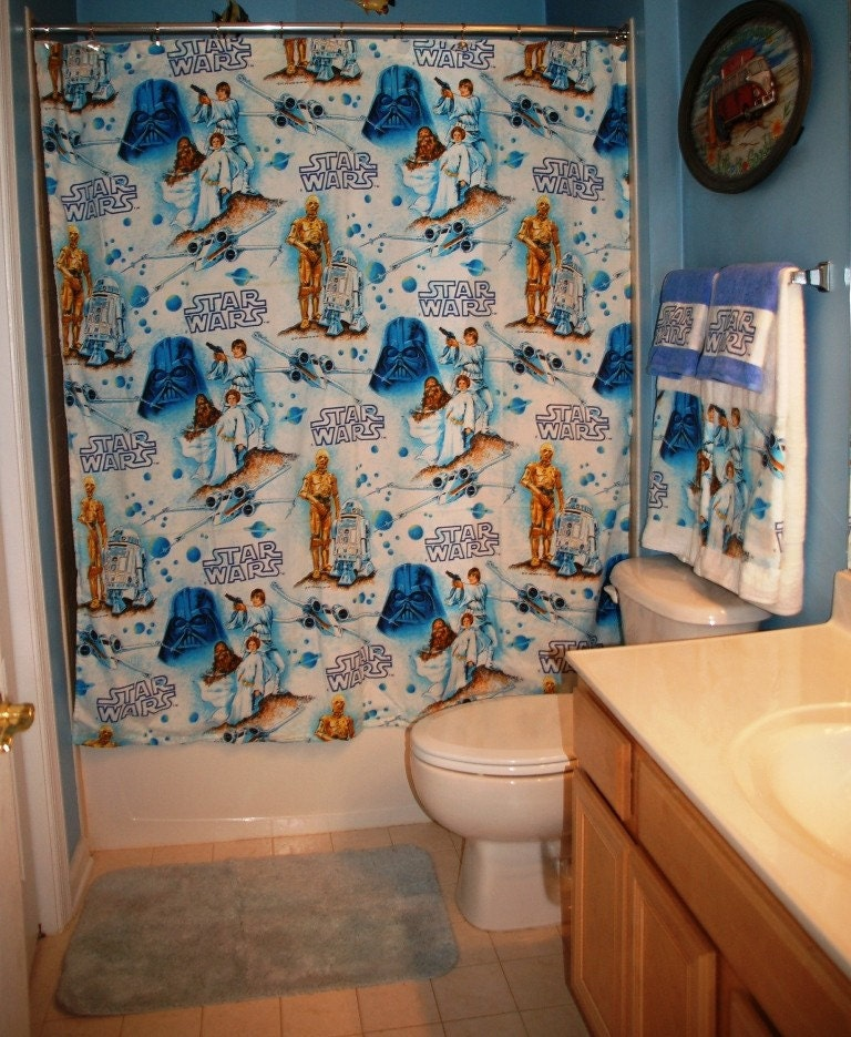 Shower Curtain Made With Vintage Star Wars Bed Sheet Ready To