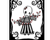 Ennui Merry and Bright - 5 pack- blank - GingerDead Goth Holiday Christmas Greeting Cards w/envelopes