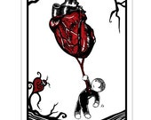 Heart Strings - GingerDead Goth Greeting Cards - 5 Pack - Blank w/  Envelopes - Love Anti-Love Valentines Anti-Valentines Day