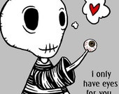 Only Have Eyes - Goth Greeting Cards w/Envelopes 5 PACK - Strange Humor Love - GingerDead card by Calan Ree