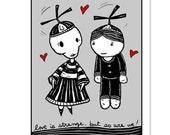 Love is Strange - GingerDead Goth /Alt Greeting Cards 5 PACK - Valentine / Love / Friendship - Single Card w/ Envelope