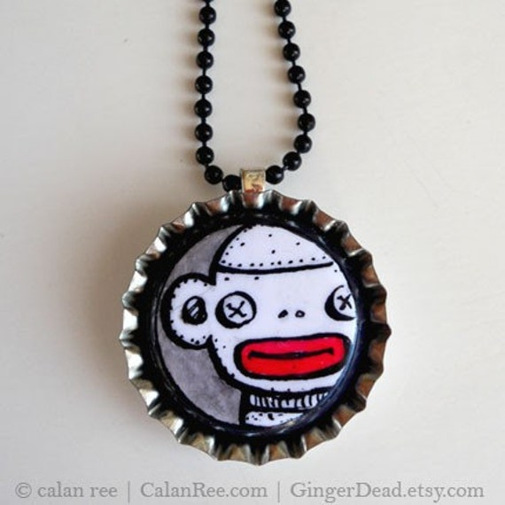 Sock Monkey OOAK Pendant Necklace - Original Pen and Ink on Polymer CLay Art Jewelry by Calan Ree