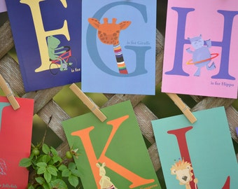 Nursery Flash Cards, Alphabet Cards, Educational, ABCs, Animals, Kids Art, Kids cards, Letters, 4x6 Wall Art Nursery