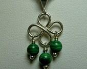 Clover Necklace in Malachite