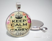 Silver Art Pendant - Keep Calm Collage  (PW143)