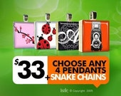 GIFT SET - YOU CHOOSE 4 Pendants \/ 4 Snake Chains for 33 USD